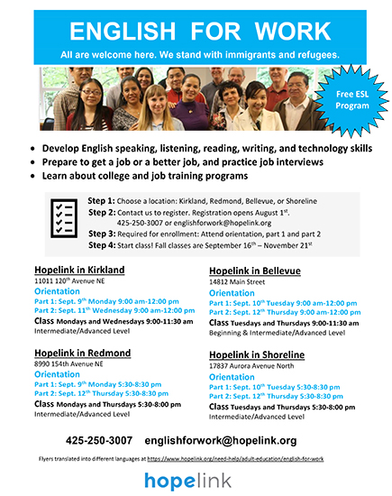 English for Work Shoreline Washington Classes
