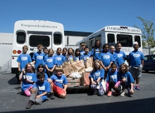 Evergreen Academy students pose with donations